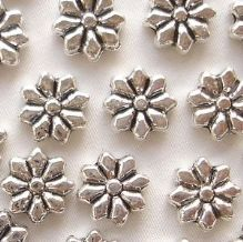 "Silver Plated ""Pewter"" Beads 9 x 9mm Flower - 20"
